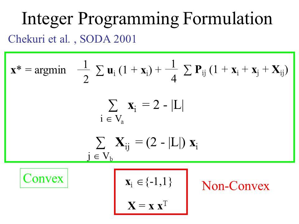 Integer Programming Formulation Chekuri et al., SODA 2001 x* = argmin 1 2 u i (1 + x i ) + 1 4 P ij (1 + x i + x j + X ij ) x i = 2 - |L| i V a X ij = (2 - |L|) x i j V b x i {-1,1} X = x x T Convex Non-Convex
