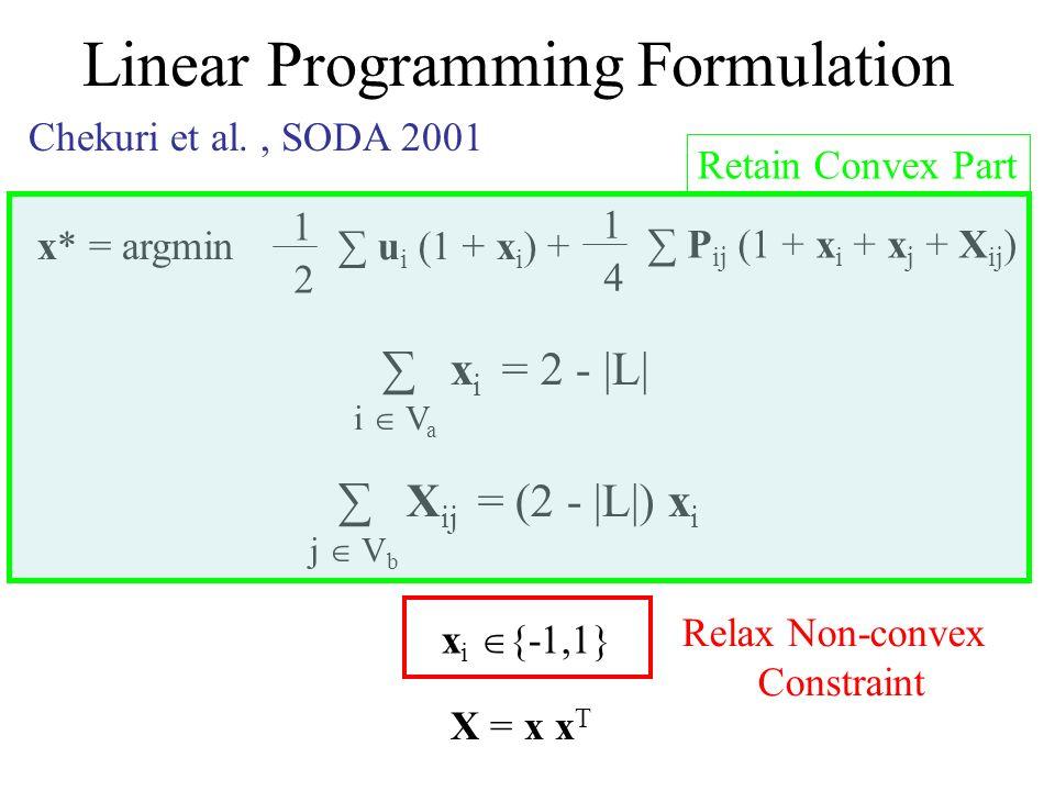 Linear Programming Formulation x* = argmin 1 2 u i (1 + x i ) + 1 4 P ij (1 + x i + x j + X ij ) x i = 2 - |L| i V a X ij = (2 - |L|) x i j V b x i {-1,1} X = x x T Chekuri et al., SODA 2001 Retain Convex Part Relax Non-convex Constraint
