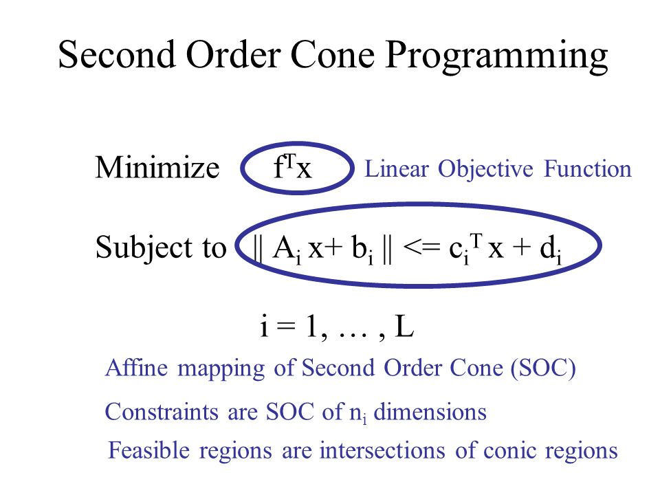 Minimize f T x Subject to || A i x+ b i || <= c i T x + d i i = 1, …, L Linear Objective Function Affine mapping of Second Order Cone (SOC) Constraints are SOC of n i dimensions Feasible regions are intersections of conic regions Second Order Cone Programming