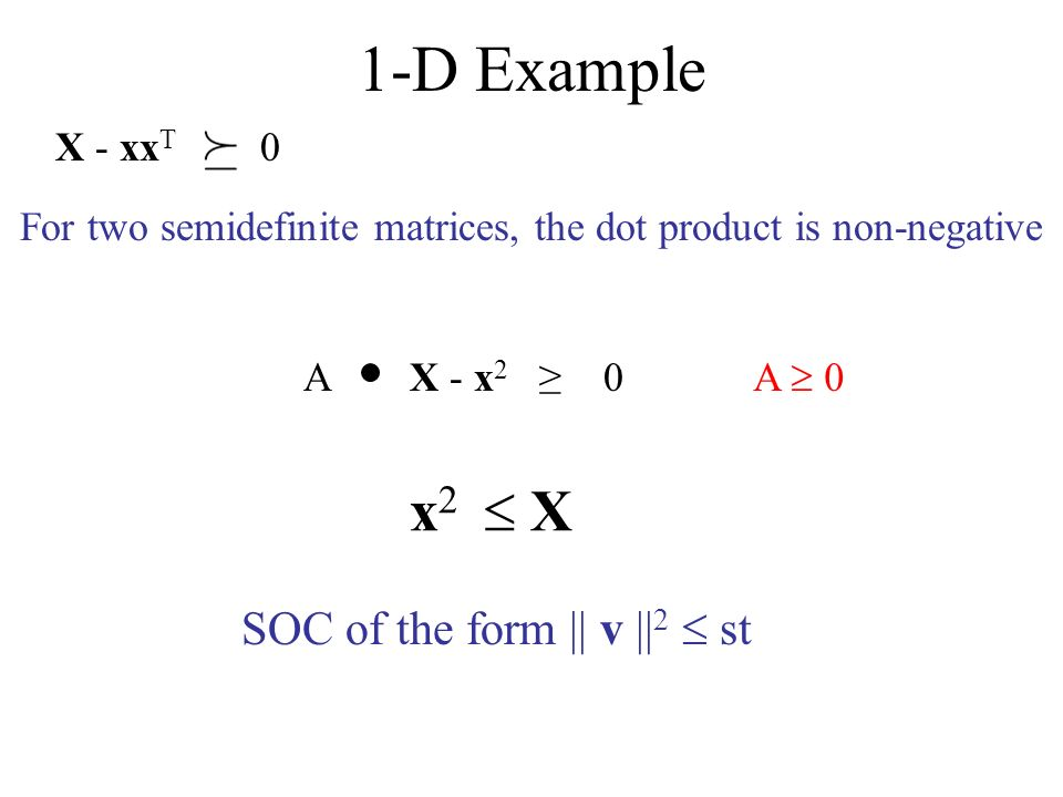 1-D Example X - xx T 0 X - x 2 0 For two semidefinite matrices, the dot product is non-negative A A 0 x 2 X SOC of the form || v || 2 st