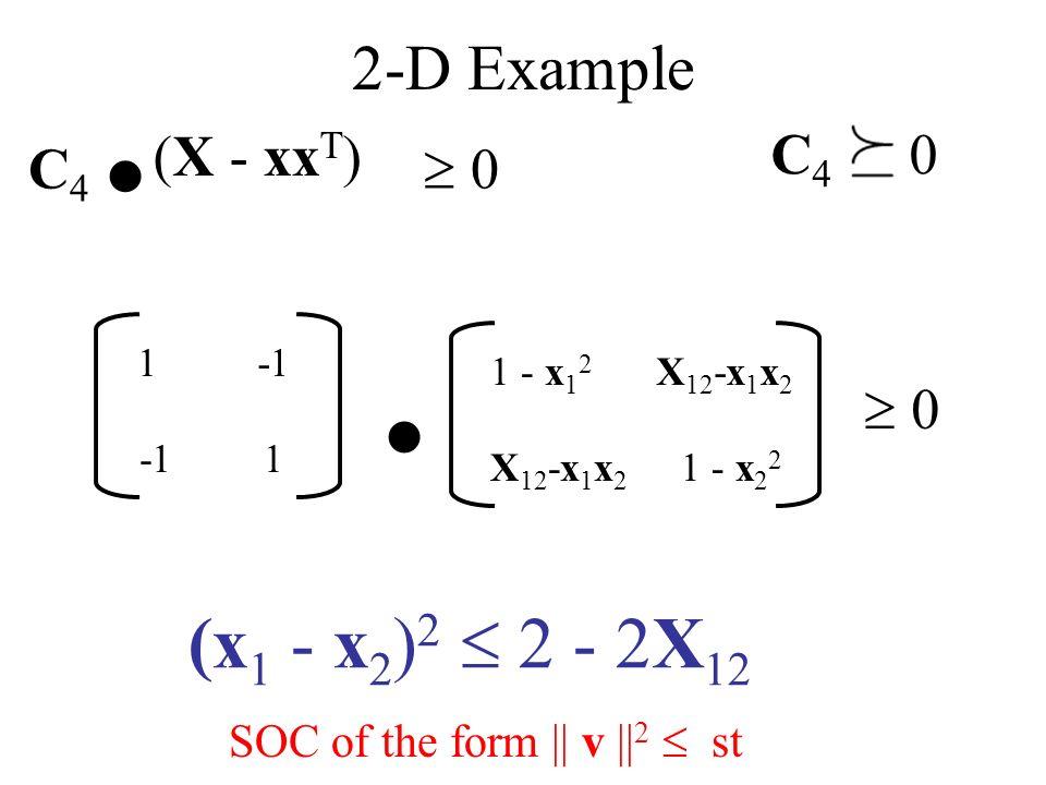 2-D Example (X - xx T ) 1 - x 1 2 X 12 -x 1 x 2 C 4.