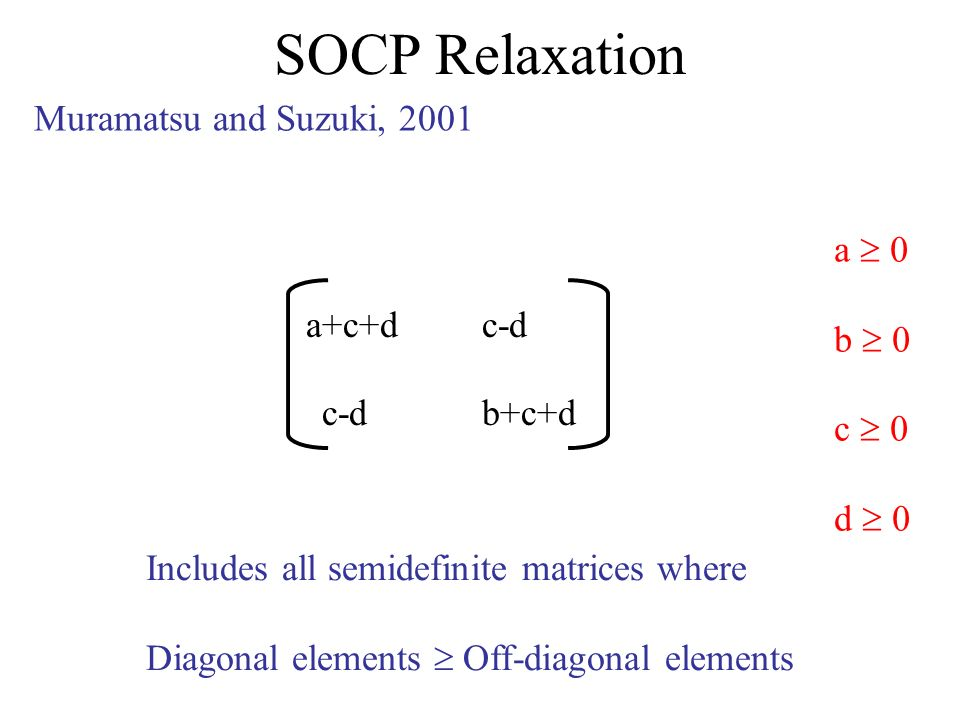 SOCP Relaxation Muramatsu and Suzuki, 2001 a+c+dc-d b+c+d a 0 b 0 c 0 d 0 Includes all semidefinite matrices where Diagonal elements Off-diagonal elements