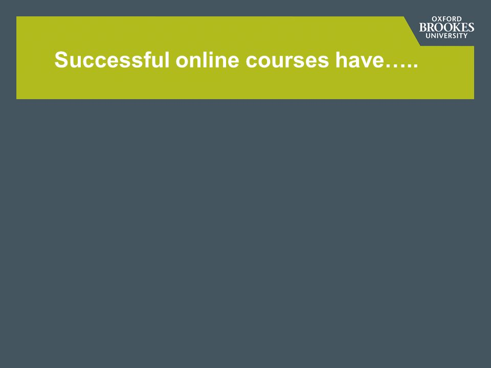 Successful online courses have…..
