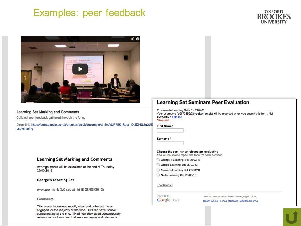 Examples: peer feedback