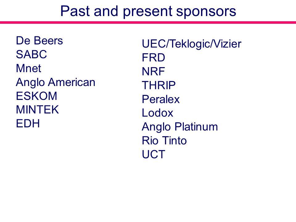 De Beers SABC Mnet Anglo American ESKOM MINTEK EDH UEC/Teklogic/Vizier FRD NRF THRIP Peralex Lodox Anglo Platinum Rio Tinto UCT Past and present sponsors