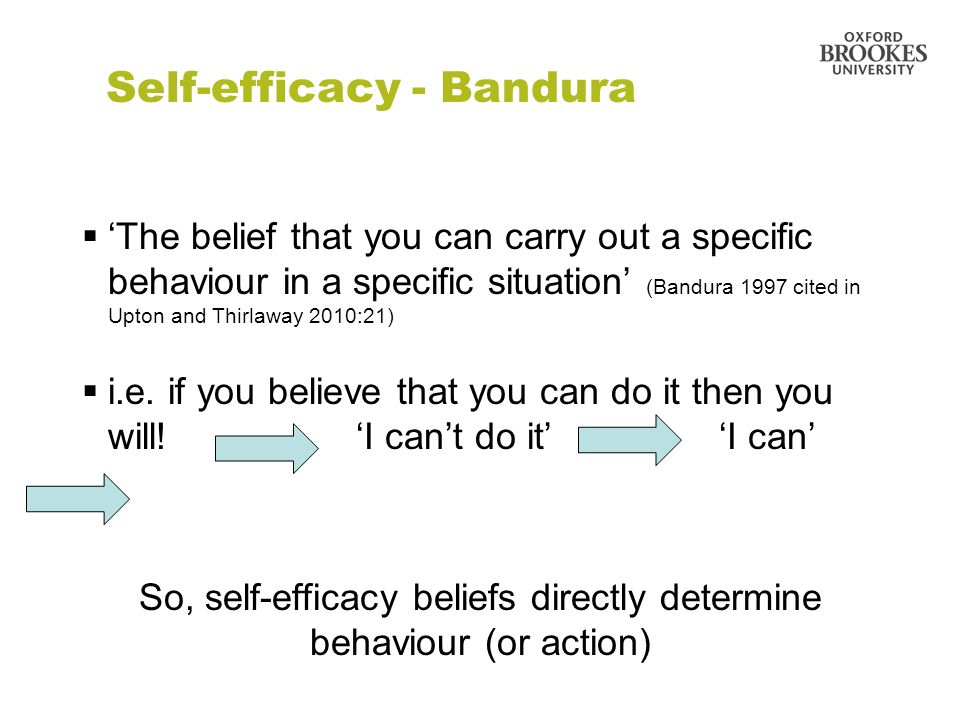 Self-efficacy - Bandura The belief that you can carry out a specific behaviour in a specific situation (Bandura 1997 cited in Upton and Thirlaway 2010