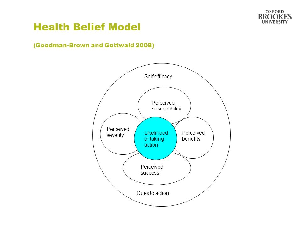 Health Belief Model (Goodman-Brown and Gottwald 2008) Perceived susceptibility Self efficacy Likelihood of taking action Perceived success Perceived s