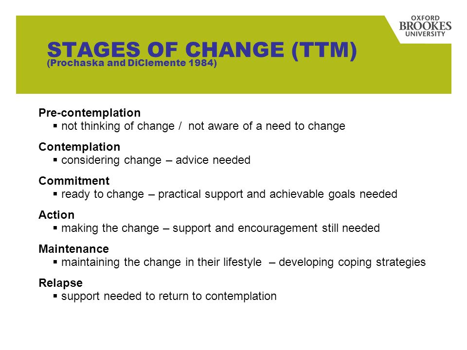 27 STAGES OF CHANGE (TTM) (Prochaska and DiClemente 1984) Pre-contemplation not thinking of change / not aware of a need to change Contemplation consi
