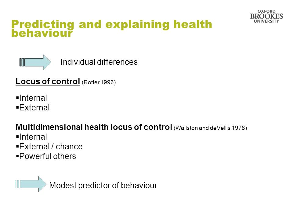 Predicting and explaining health behaviour Individual differences Locus of control (Rotter 1996) Internal External Multidimensional health locus of co