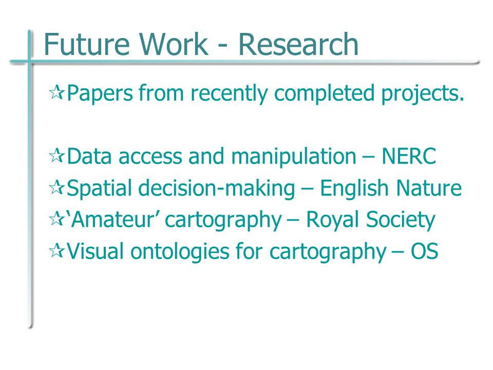 Future Work - Research Papers from recently completed projects.