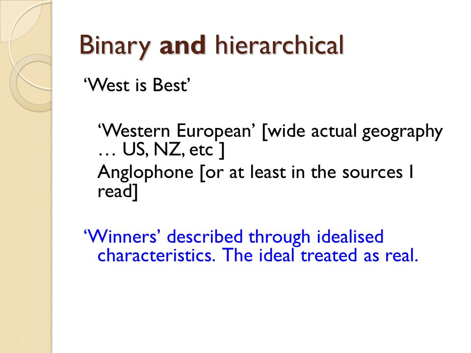 Binary and hierarchical West is Best Western European [wide actual geography … US, NZ, etc ] Anglophone [or at least in the sources I read] Winners de