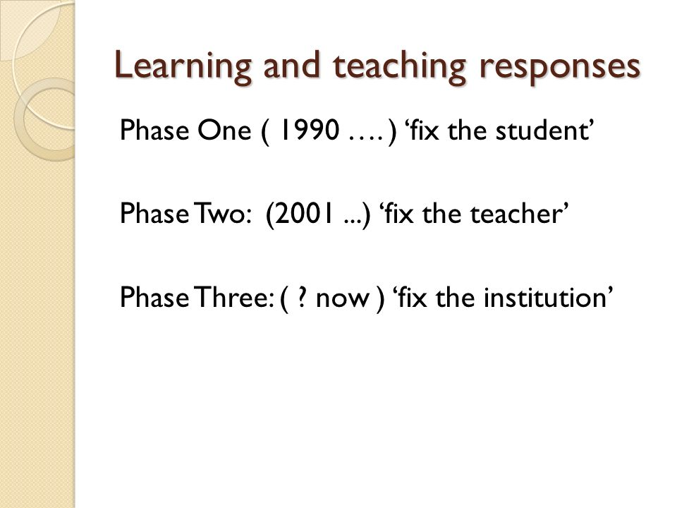 Learning and teaching responses Phase One ( 1990 …. ) fix the student Phase Two: (2001...) fix the teacher Phase Three: ( ? now ) fix the institution