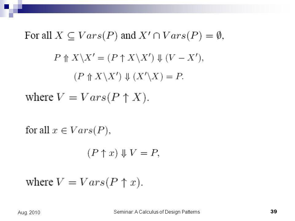 Seminar: A Calculus of Design Patterns39 Aug. 2010