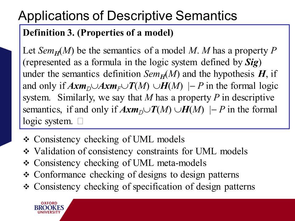 Applications of Descriptive Semantics Consistency checking of UML models Validation of consistency constraints for UML models Consistency checking of UML meta-models Conformance checking of designs to design patterns Consistency checking of specification of design patterns Definition 3.