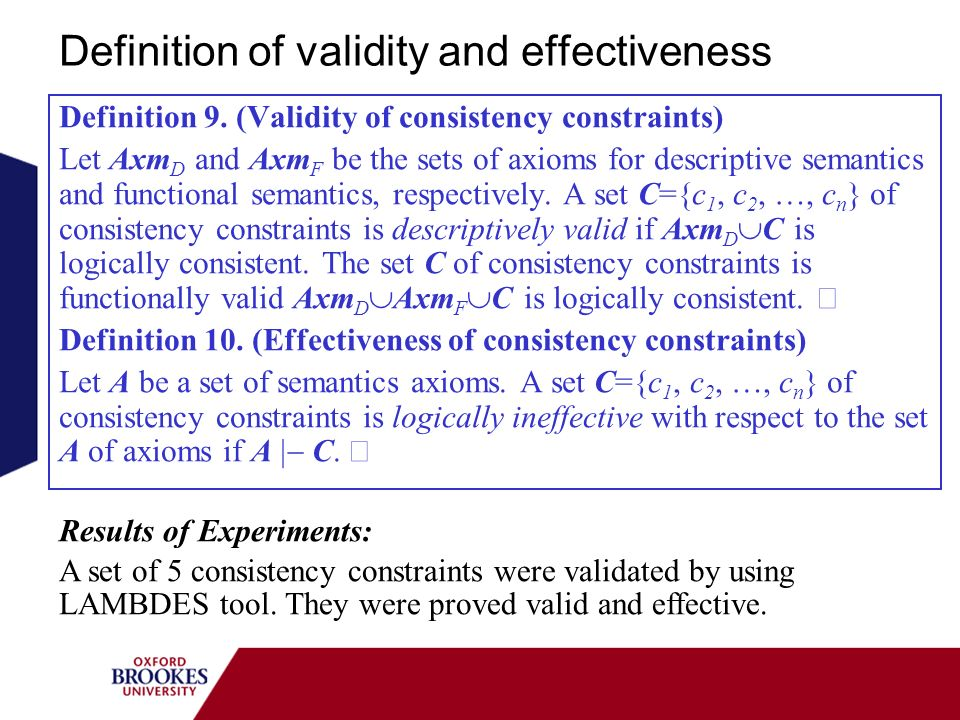Definition of validity and effectiveness Definition 9. (Validity of consistency constraints) Let Axm D and Axm F be the sets of axioms for descriptive