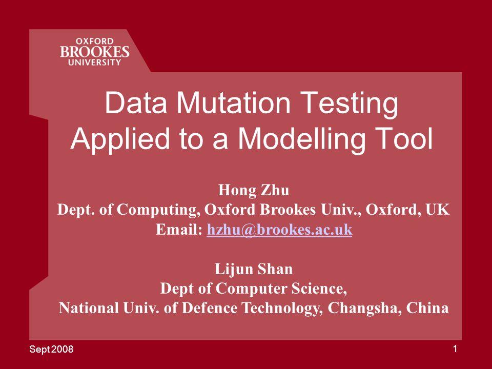 Sept 2008 42 MOTES 2008 Screen Snapshot of Algebraic Testing Tool CASCAT