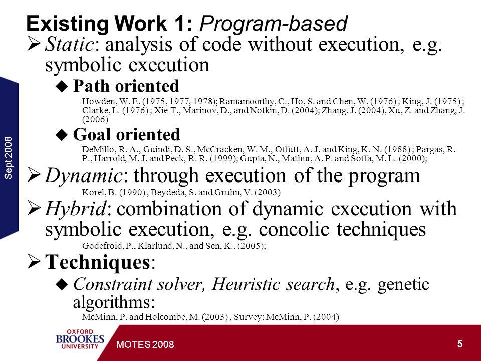 Sept 2008 6 MOTES 2008 Formal specification-based: First order logic, Z spec and Logic programs: Tai, K.-C.