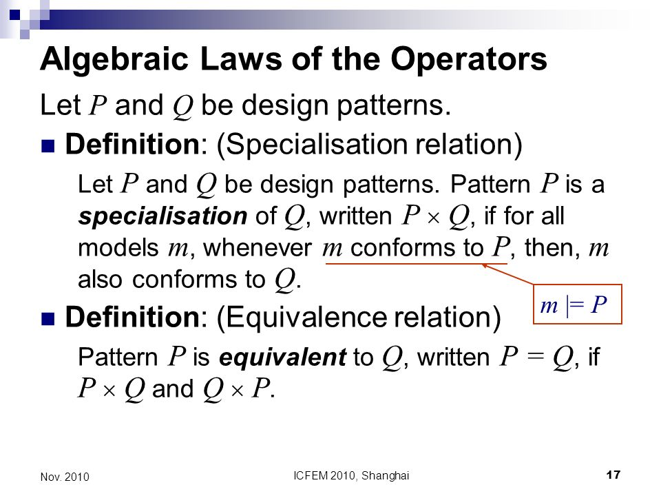 ICFEM 2010, Shanghai17 Nov Algebraic Laws of the Operators Let P and Q be design patterns.