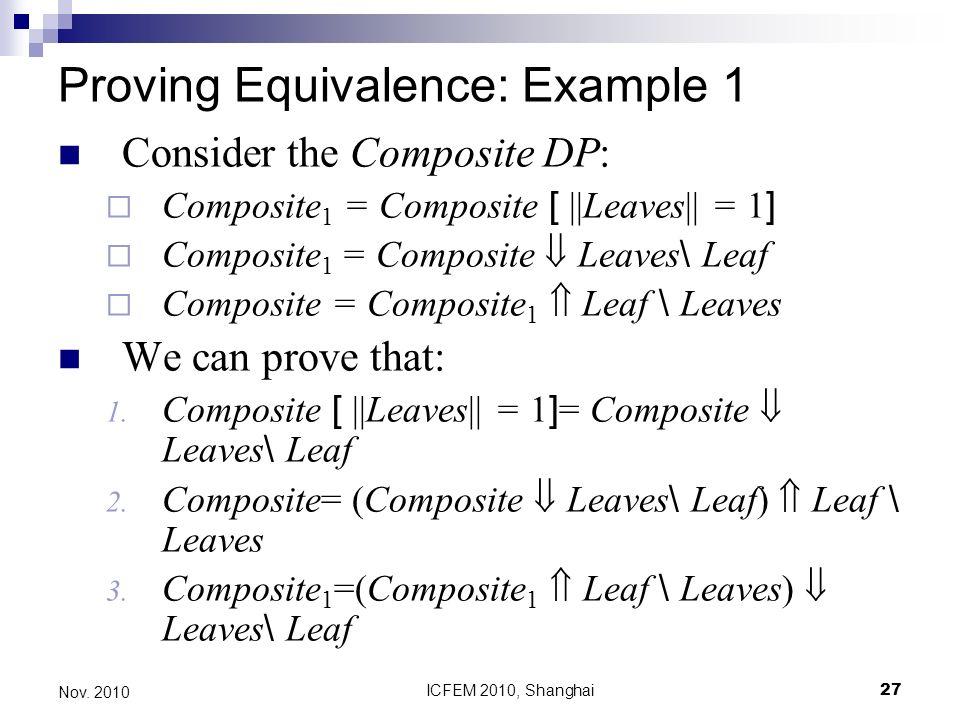 ICFEM 2010, Shanghai27 Nov. 2010 Proving Equivalence: Example 1 Consider the Composite DP: Composite 1 = Composite [ ||Leaves|| = 1 ] Composite 1 = Co