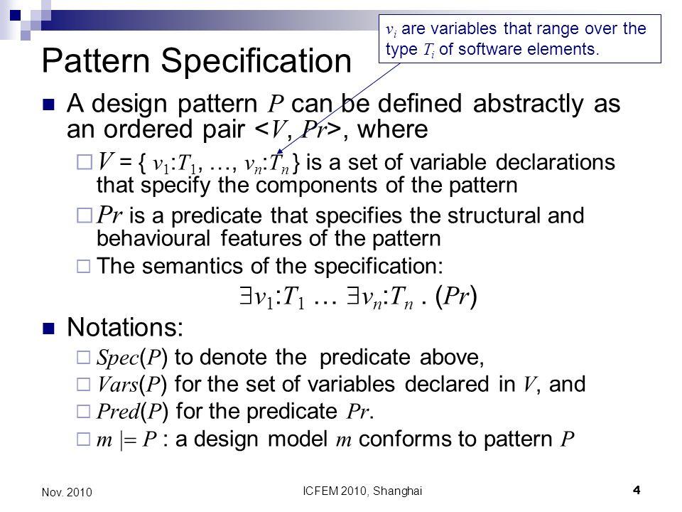 ICFEM 2010, Shanghai35 Nov.2010 References 1. Taibi, T.: Formalising design patterns composition.