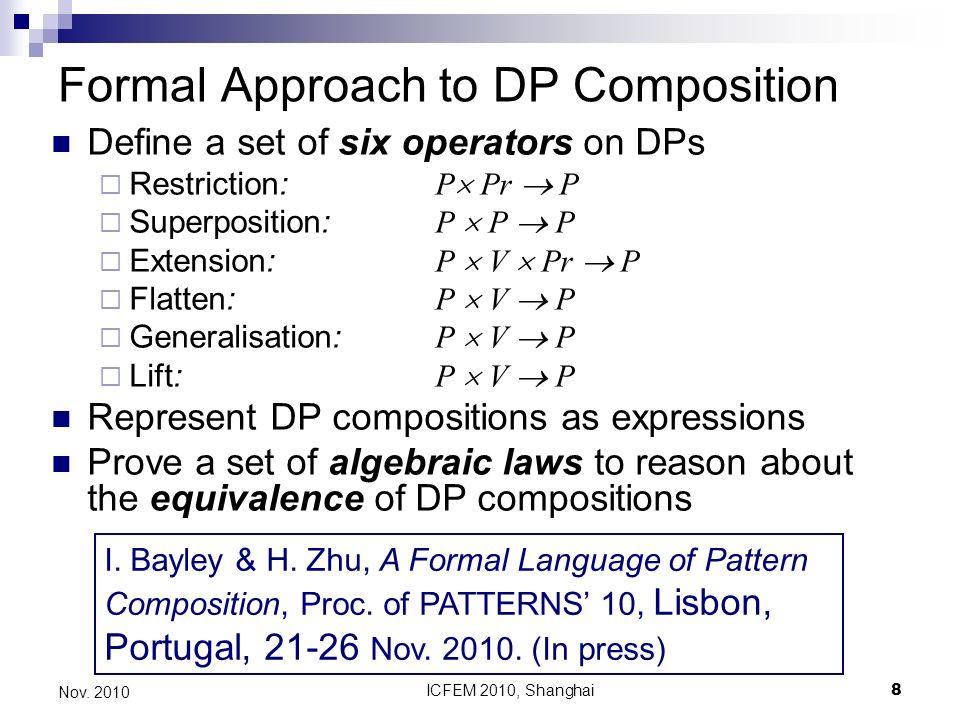 ICFEM 2010, Shanghai8 Nov. 2010 Formal Approach to DP Composition Define a set of six operators on DPs Restriction: P Pr P Superposition: P P P Extens