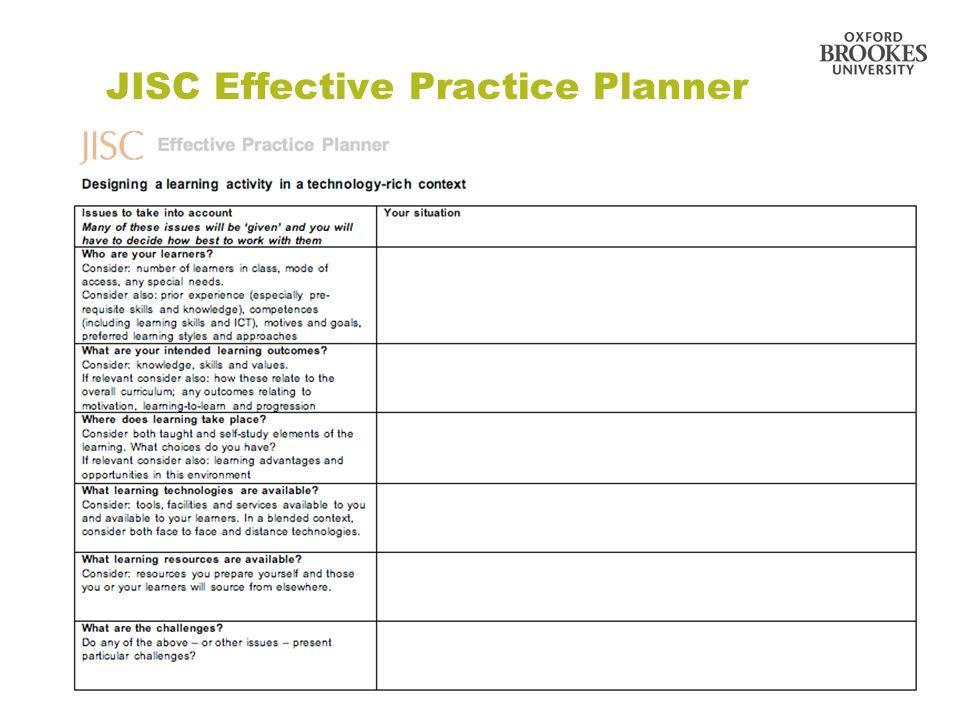 JISC Effective Practice Planner