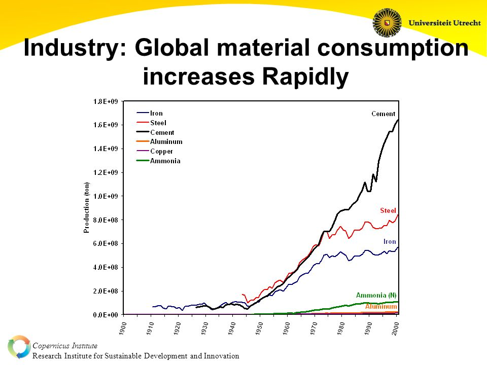 Copernicus Institute Research Institute for Sustainable Development and Innovation Industry: Global material consumption increases Rapidly..but global material consumption will grow rapidly, due to growing demand in developing countries and constant demand in industrialized countries