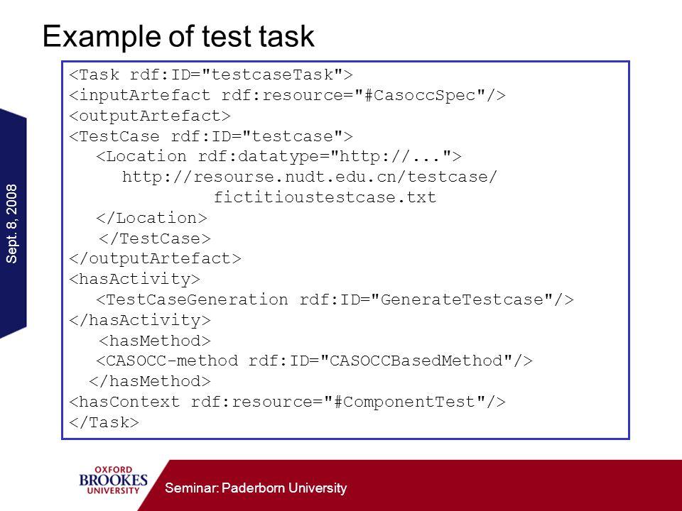 Sept. 8, 2008 Seminar: Paderborn University Example of test task http://resourse.nudt.edu.cn/testcase/ fictitioustestcase.txt