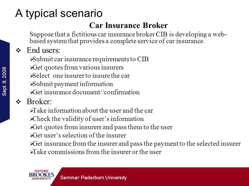 Sept. 8, 2008 Seminar: Paderborn University A typical scenario Car Insurance Broker Suppose that a fictitious car insurance broker CIB is developing a
