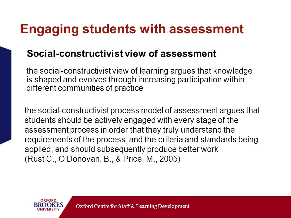 Oxford Centre for Staff & Learning Development Social-constructivist view of assessment the social-constructivist view of learning argues that knowledge is shaped and evolves through increasing participation within different communities of practice the social-constructivist process model of assessment argues that students should be actively engaged with every stage of the assessment process in order that they truly understand the requirements of the process, and the criteria and standards being applied, and should subsequently produce better work (Rust C., ODonovan, B., & Price, M., 2005) Engaging students with assessment