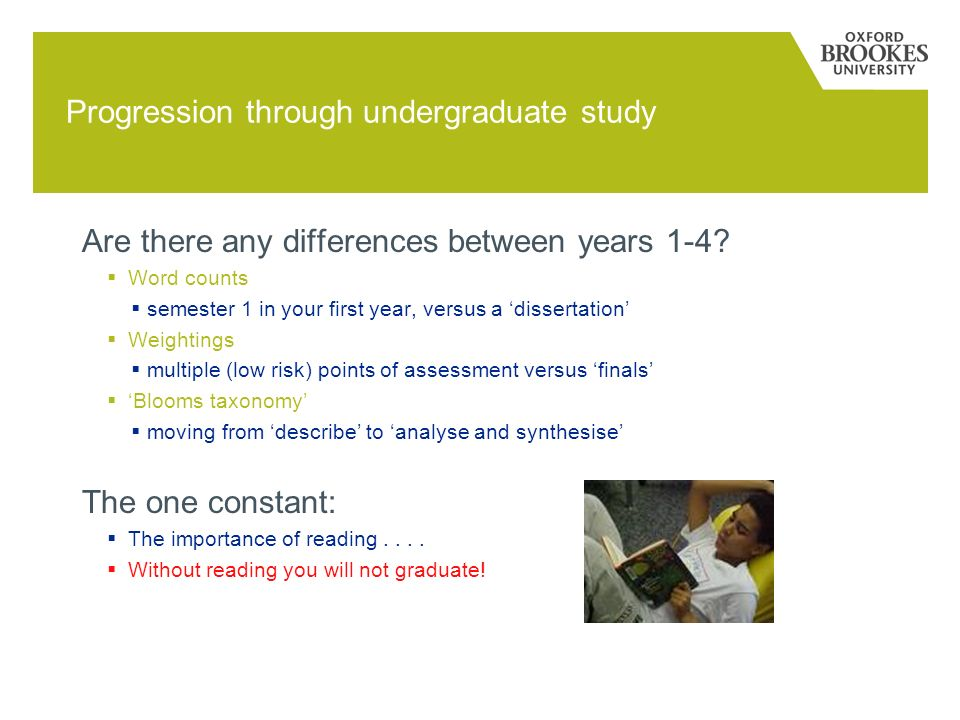 Progression through undergraduate study Are there any differences between years 1-4.