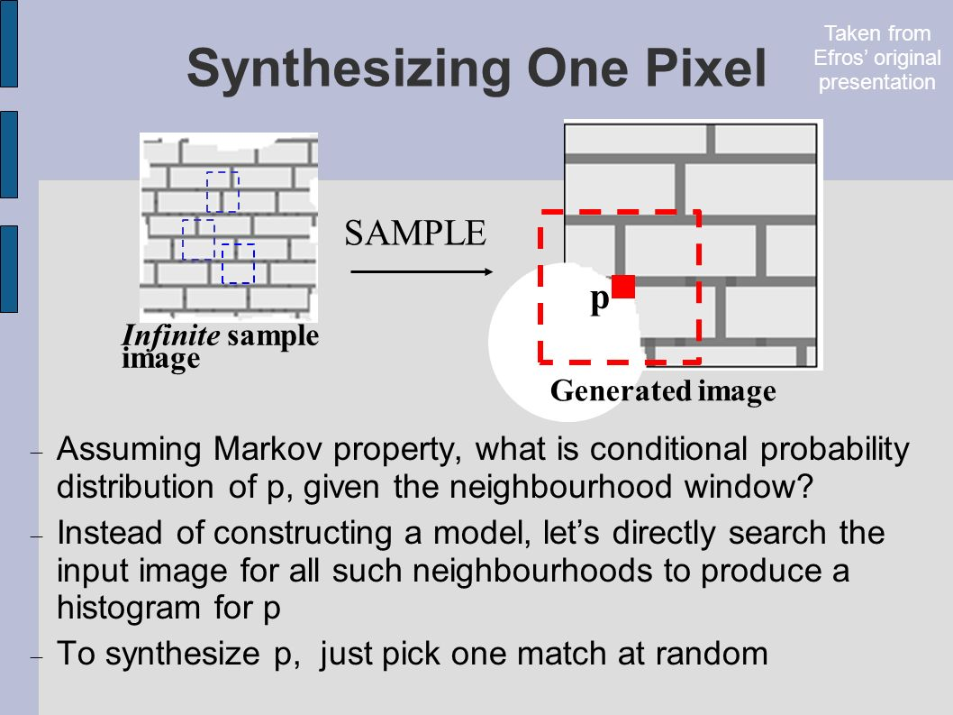 Synthesizing One Pixel Infinite sample image Generated image Assuming Markov property, what is conditional probability distribution of p, given the neighbourhood window.