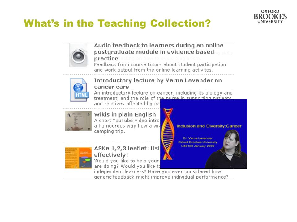 Directorate of Learning Resources Whats in the Teaching Collection?