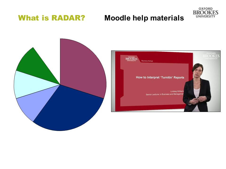Directorate of Learning Resources What is RADAR? Moodle help materials