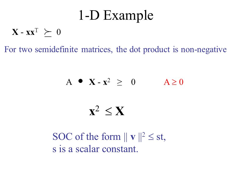 1-D Example X - xx T 0 X - x 2 0 For two semidefinite matrices, the dot product is non-negative A A 0 x 2 X SOC of the form || v || 2 st, s is a scalar constant.
