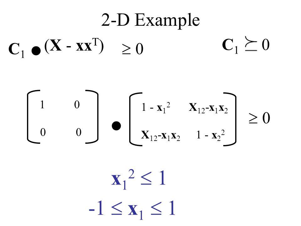 2-D Example (X - xx T ) 1 - x 1 2 X 12 -x 1 x 2. 0 10 00 1 - x 2 2 x 1 2 1 -1 x 1 1 C 1. 0 C 1 0