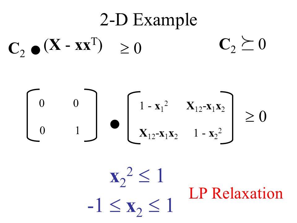 2-D Example (X - xx T ) 1 - x 1 2 X 12 -x 1 x 2 C 2.