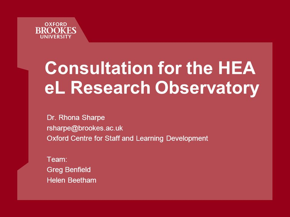 Consultation for the HEA eL Research Observatory Dr.