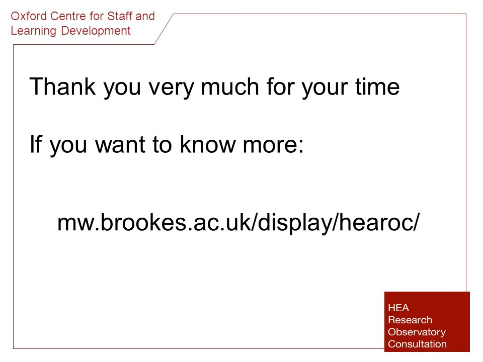 Thank you very much for your time If you want to know more: mw.brookes.ac.uk/display/hearoc/