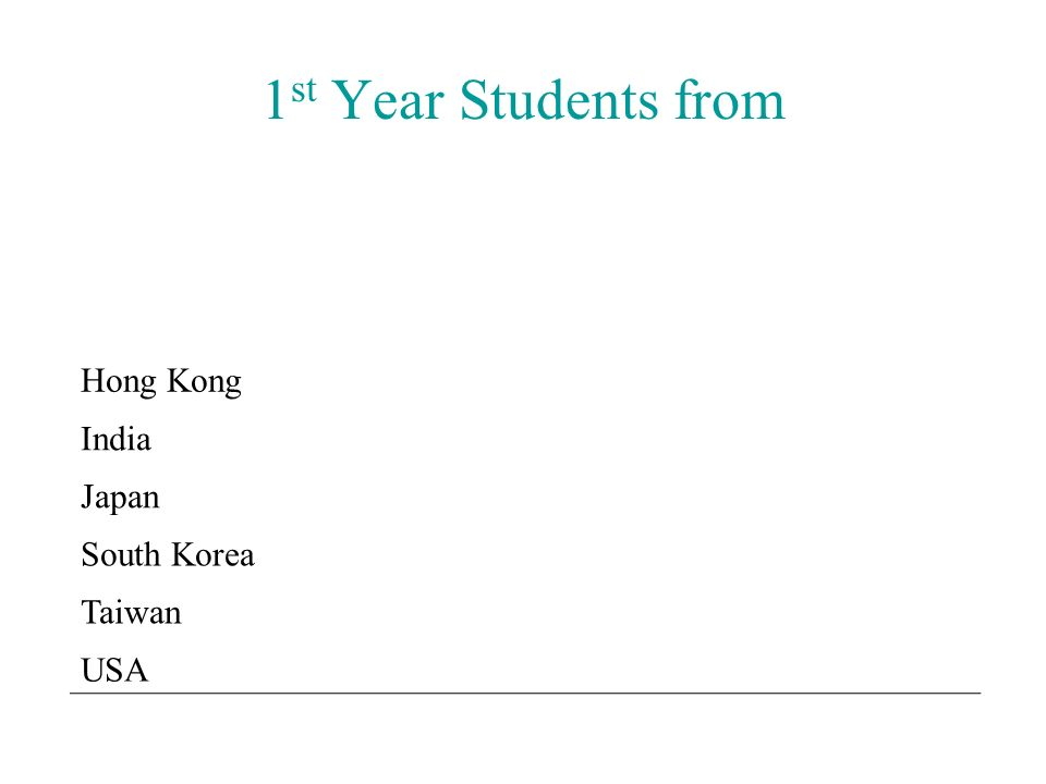 1 st Year Students from Hong Kong India Japan South Korea Taiwan USA