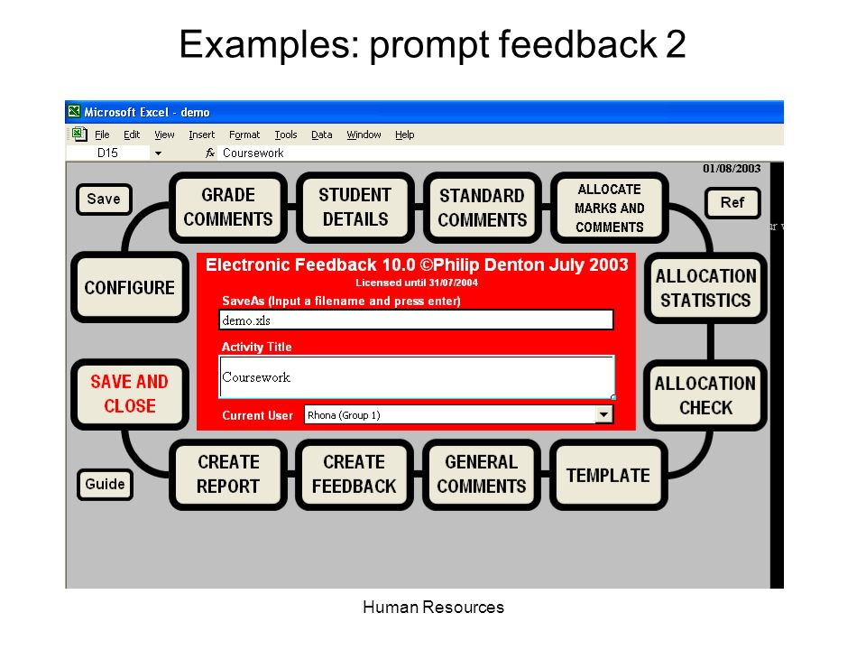 Human Resources Examples: prompt feedback 2