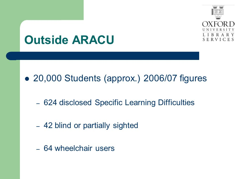 Outside ARACU 20,000 Students (approx.) 2006/07 figures – 624 disclosed Specific Learning Difficulties – 42 blind or partially sighted – 64 wheelchair