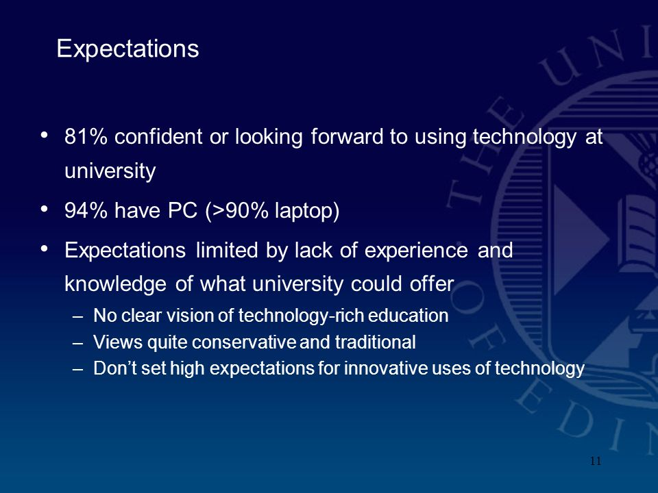 11 Expectations 81% confident or looking forward to using technology at university 94% have PC (>90% laptop) Expectations limited by lack of experience and knowledge of what university could offer –No clear vision of technology-rich education –Views quite conservative and traditional –Dont set high expectations for innovative uses of technology