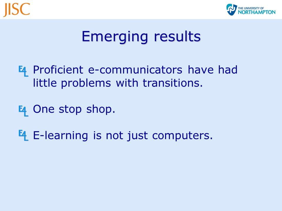 Emerging results Proficient e-communicators have had little problems with transitions.