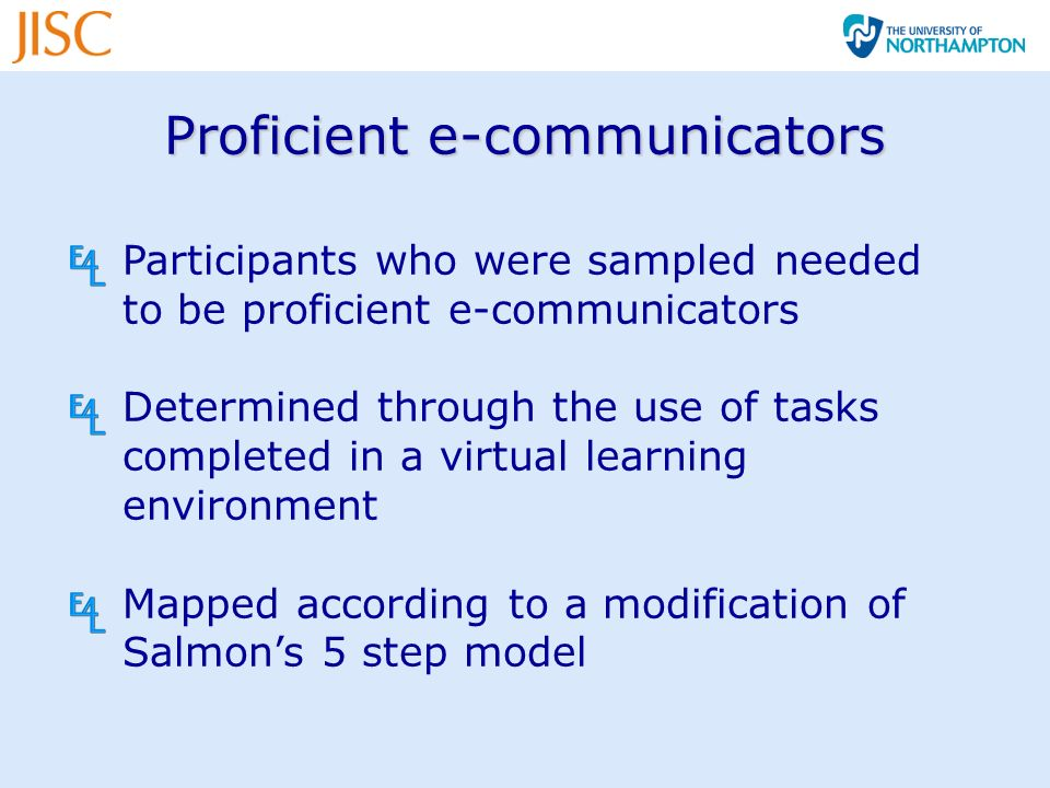 Proficient e-communicators Participants who were sampled needed to be proficient e-communicators Determined through the use of tasks completed in a virtual learning environment Mapped according to a modification of Salmons 5 step model