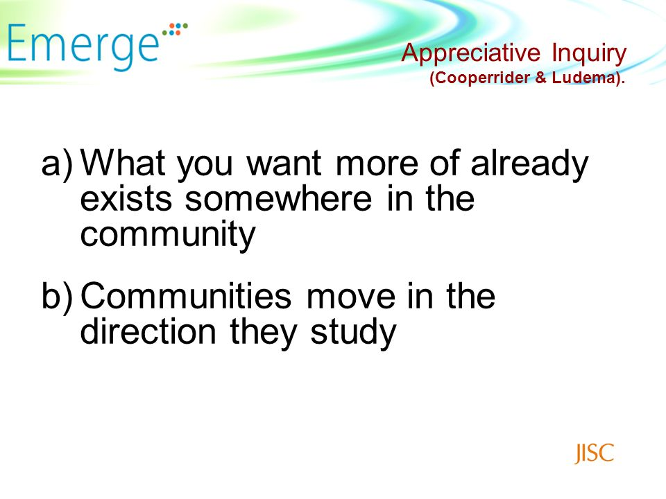 Appreciative Questions What processes support the development of the online community.