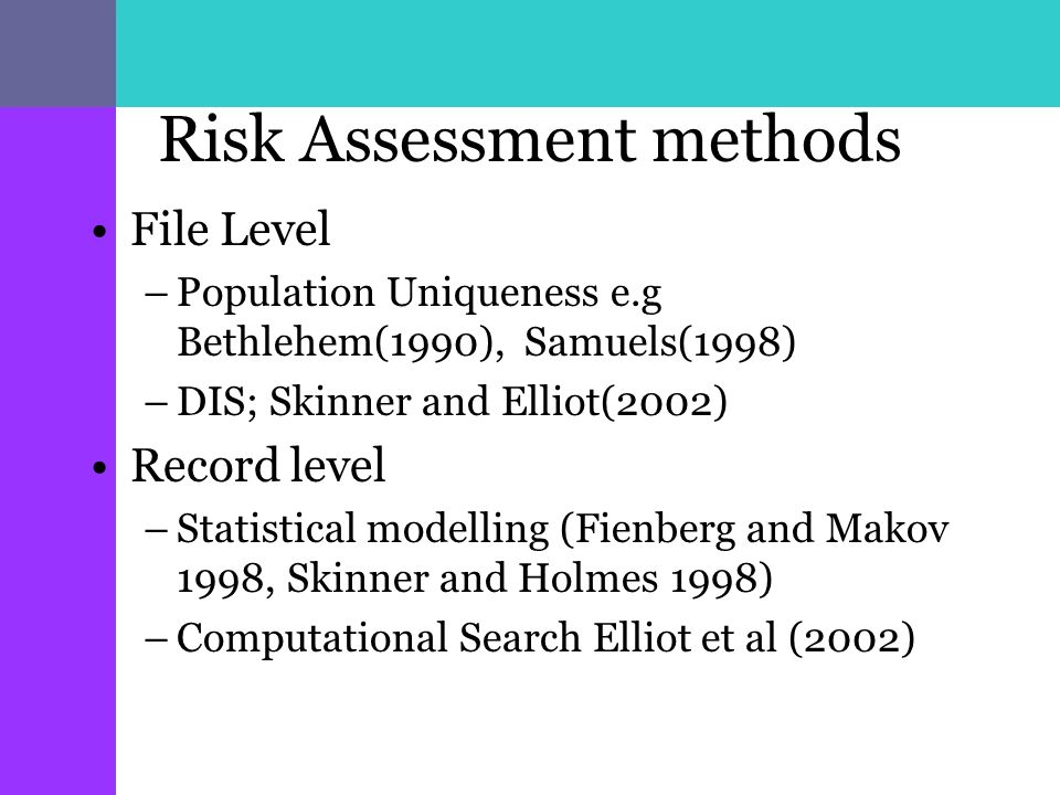 Risk Assessment methods File Level –Population Uniqueness e.g Bethlehem(1990), Samuels(1998) –DIS; Skinner and Elliot(2002) Record level –Statistical modelling (Fienberg and Makov 1998, Skinner and Holmes 1998) –Computational Search Elliot et al (2002)