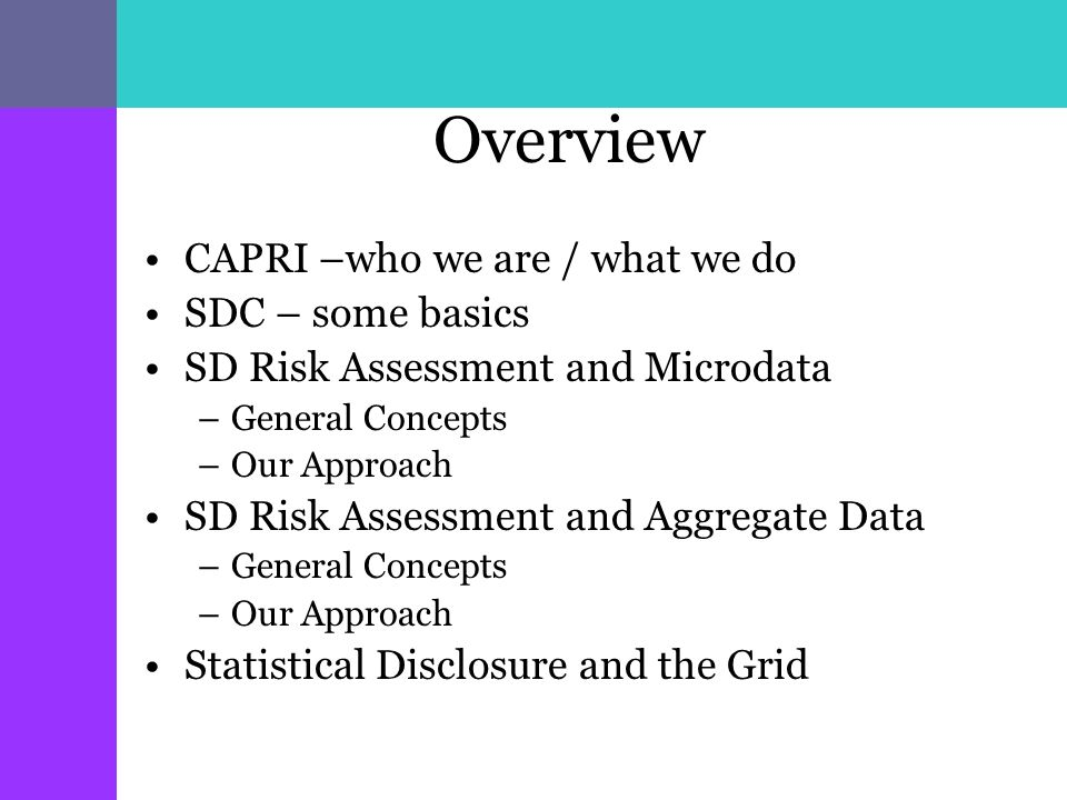 Overview CAPRI –who we are / what we do SDC – some basics SD Risk Assessment and Microdata –General Concepts –Our Approach SD Risk Assessment and Aggregate Data –General Concepts –Our Approach Statistical Disclosure and the Grid