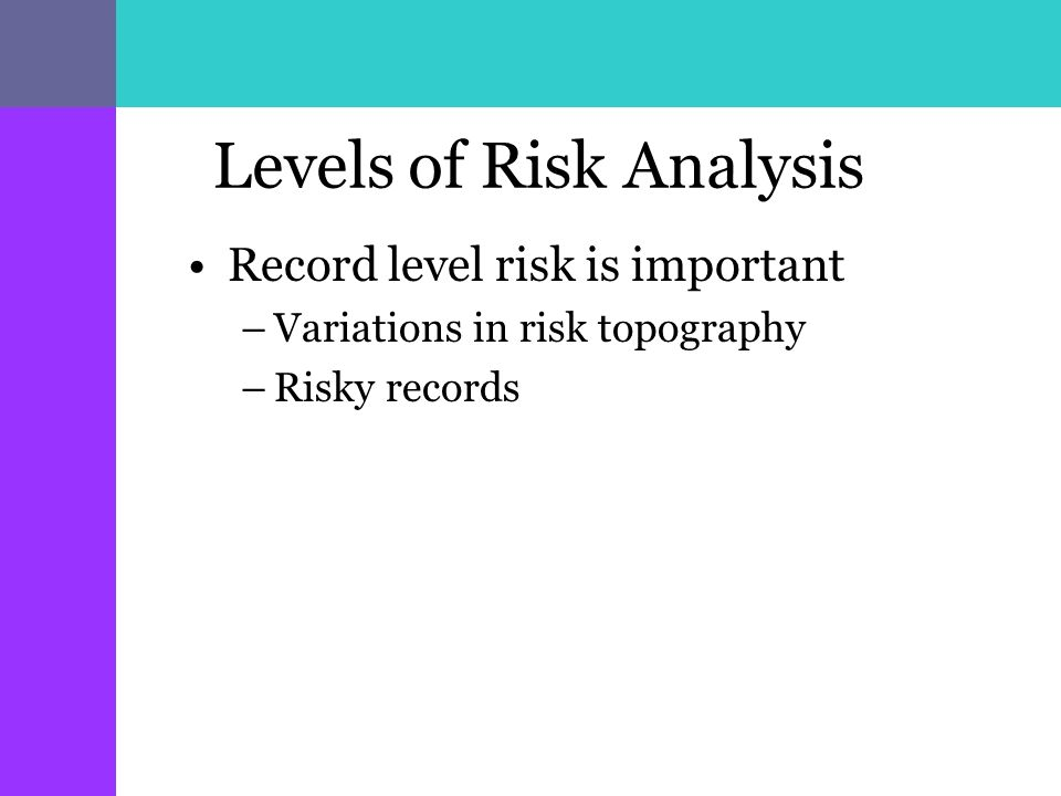 Levels of Risk Analysis Record level risk is important –Variations in risk topography –Risky records