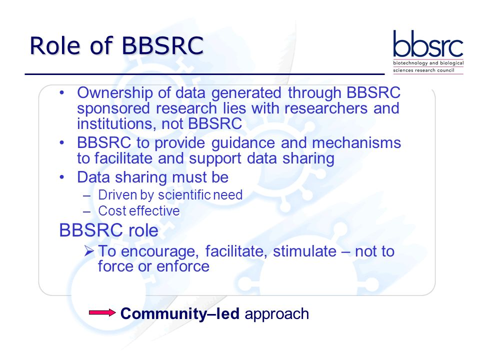 Role of BBSRC Ownership of data generated through BBSRC sponsored research lies with researchers and institutions, not BBSRC BBSRC to provide guidance and mechanisms to facilitate and support data sharing Data sharing must be –Driven by scientific need –Cost effective BBSRC role To encourage, facilitate, stimulate – not to force or enforce Community–led approach
